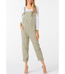 khaki square neck sleeveless overall outfits