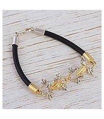 gold plated pendant bracelet, 'rain frogs' (mexico)