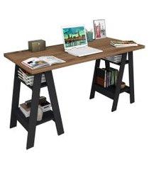 mesa escrivaninha cavalete self esc 3003 castanho/preto - appunto