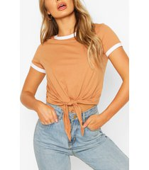contrast colour t-shirt, camel
