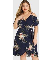 yoins plus tamaño abrigo de hombro frío con estampado floral al azar azul marino vestido