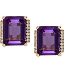 amethyst (4-1/5 ct. t.w.) and diamond accent stud earrings in 14k gold (also available in london blue topaz)