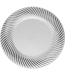 prato sobremesa descartável borda prata 19 cm 6 unidades