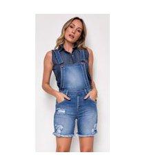 macacão jeans express meia coxa emilia azul