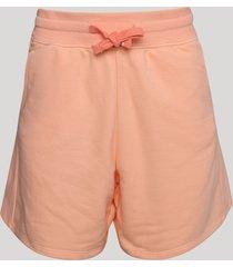short de moletom feminino cintura alta com cordão e bolsos laranja claro