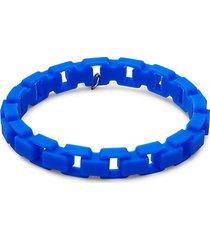 white rhodium-plated & rubber chain bracelet