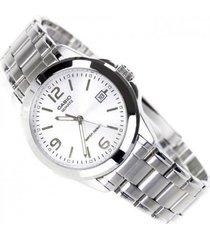 reloj casio caballero elegante mtp-1215-7a color plateado