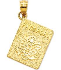 14k gold charm, passport charm