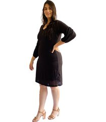 vestido acanalado con manga tipo globo negro plica