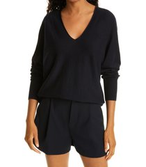 women's vince double v-neck sweater, size small - blue