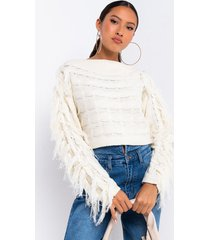 akira jessie off shoulder fringe sweater