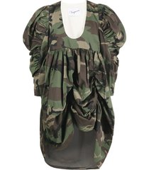 vaquera camouflage-print ruched dress - green