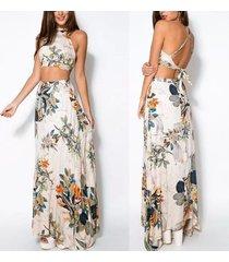2 piece dress for women crop top + maxi skirt floral beach dresses