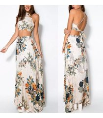 2 piece dress for women crop top + maxi skirt floral beach dresses