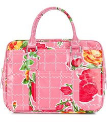 comme des garçons girl floral print zip-up tote bag - pink