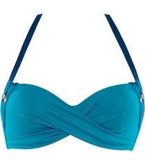 velvet kiss deep plunge balcony bikini top | wired padded ocean blue - 36c