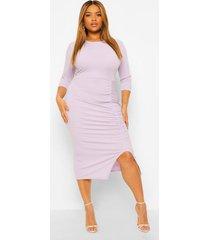 plus zachte geribbelde midi jurk met plooien aan de zijkant, lilac