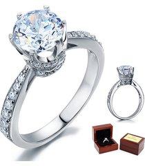 2 carat round cut diamond sterling 925 silver bridal wedding engagement ring