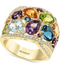 effy multi-gemstone (7-1/4 ct. t.w.) & diamond (1/3 ct. t.w.) statement ring in 14k gold