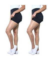 kit 2 shorts saia heide ribeiro basic tapa bumbum top preto