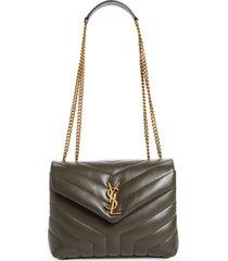 saint laurent small loulou leather shoulder bag - brown