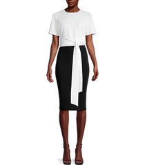 alice + olivia by stacey bendet women's tie-waist cropped top - off white - size xl