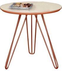 mesa de canto pé cobreado c&m decor cor:branco/cobre