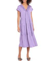women's maggy london plush satin tiered midi dress, size 18w - purple