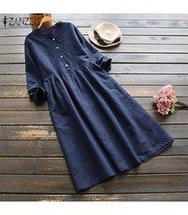 zanzea mujeres largo de manga larga camisa de vestir botones de algodón de cuello vestido maxi étnico retro -azul marino