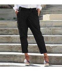 zanzea mujeres pantalones casual cinturón de lazo bolsillos llenos de longitud más señoras del tamaño pantalones -negro