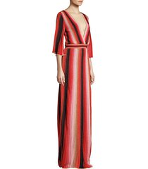 textured stripes plunging maxi dress