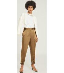 reiss elyssah - satin pleated trousers in bronze, womens, size 14