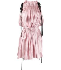 16arlington drawstring satin mini dress - pink