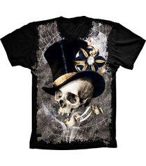 camiseta baby look lu geek caveira chapeu preto - preto - feminino - dafiti