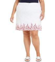 karen scott plus size border-print skort, created for macy's
