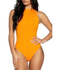 naked wardrobe funnel neck rib bodysuit, size small in orange at nordstrom