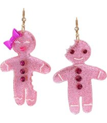 betsey johnson festive gingerbread mismatched drop earrings
