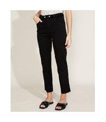 calça de sarja feminina cropped cintura alta com botões e elástico preta