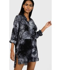 vestido missguided oversized dip back shirt dress tie dye dresses azul - calce oversize