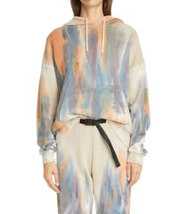 women's john elliott alma volcano dye cotton hoodie, size 3 - beige