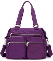nylon borsa a tracolla multitasche leggera grande capacità borsa per le donne
