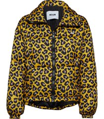 animalier printed nylon bomber jacket fodrad jacka gul msgm