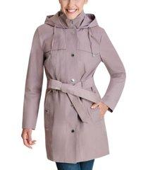 london fog hooded bibbed belted water-resistant raincoat