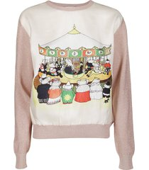 lanvin white and pink cotton blend sweatshirt