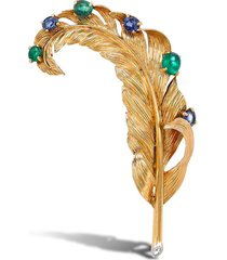 cartier 18kt yellow gold retro sapphire and emerald brooch