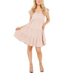 quiz frill-sleeve a-line dress