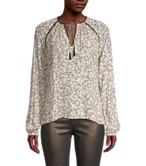 cupcakes and cashmere women's halston printed tassel blouse - cameo rose - size m