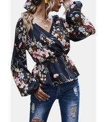 camicetta casual da donna a maniche lunghe con stampa floreale a portafoglio incrociato