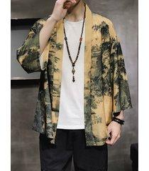 chaqueta de punto con capa de kimono yukata suelta informal estilo japonés retro para hombre