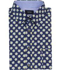 adam est 1916 overhemd korte mouw bloemetje donkerblauw